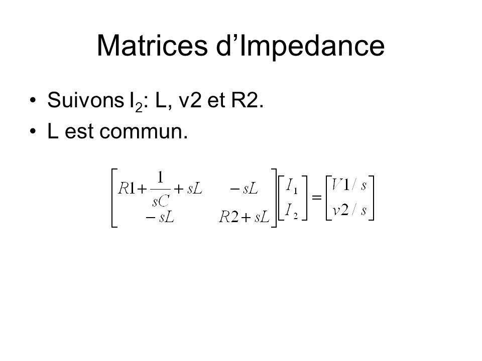 Matrices d'Impedance Suivons I2: L, v2 et R2. L est commun.