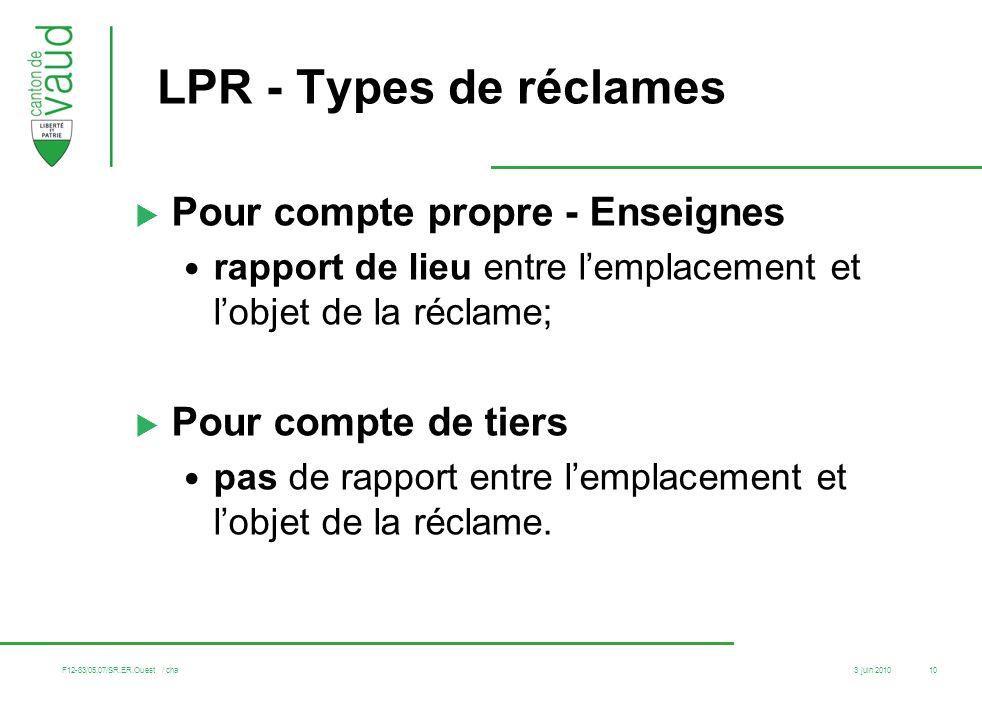 LPR - Types de réclames Pour compte propre - Enseignes
