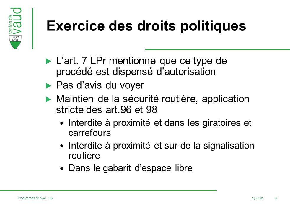 Exercice des droits politiques