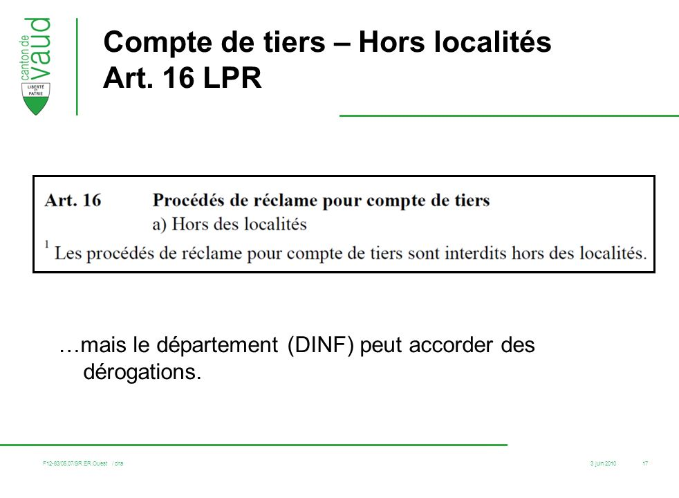 Compte de tiers – Hors localités Art. 16 LPR