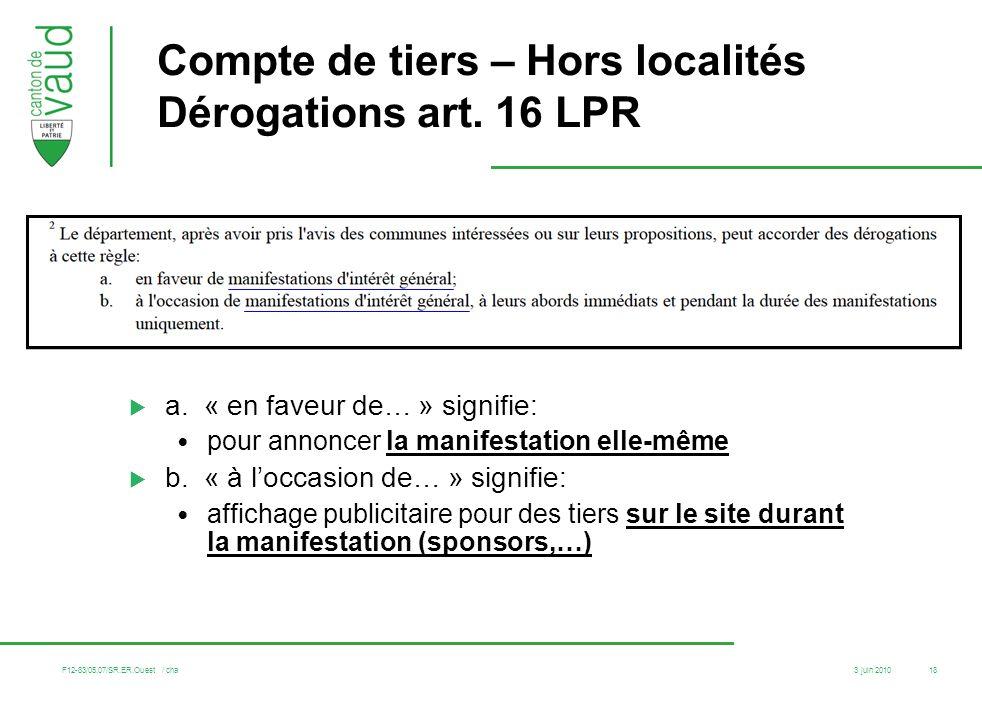Compte de tiers – Hors localités Dérogations art. 16 LPR