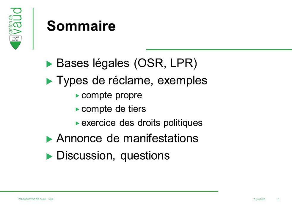 Sommaire Bases légales (OSR, LPR) Types de réclame, exemples