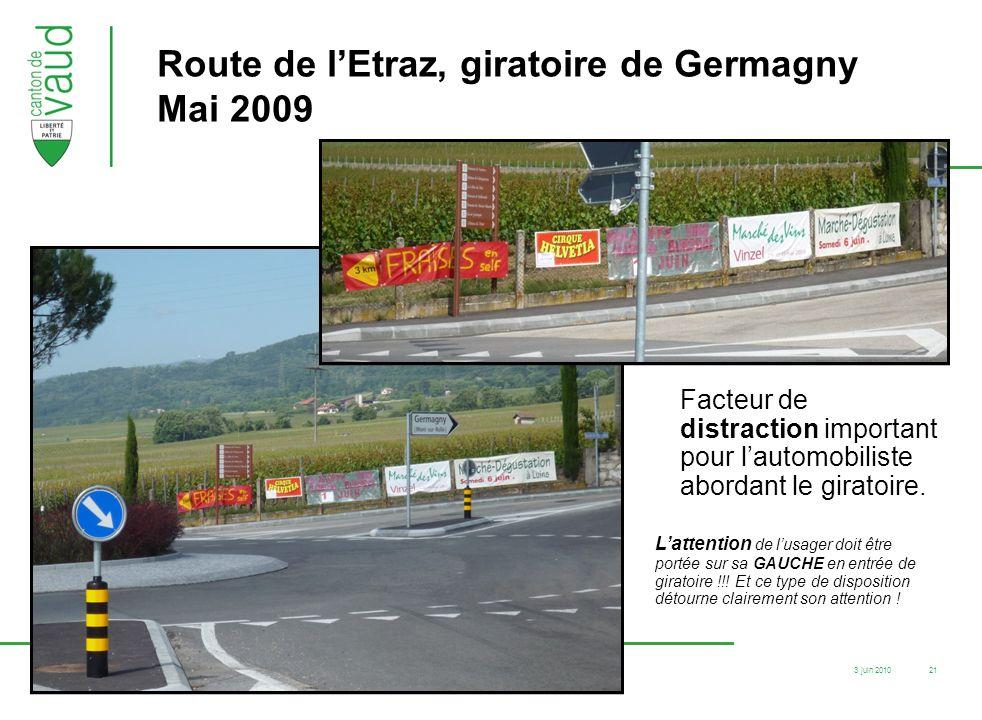 Route de l'Etraz, giratoire de Germagny Mai 2009
