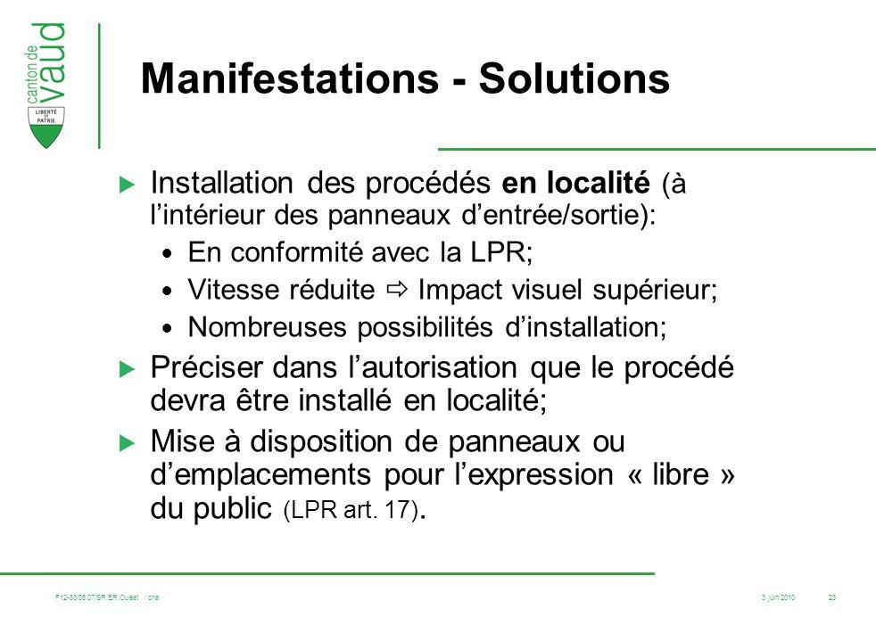 Manifestations - Solutions