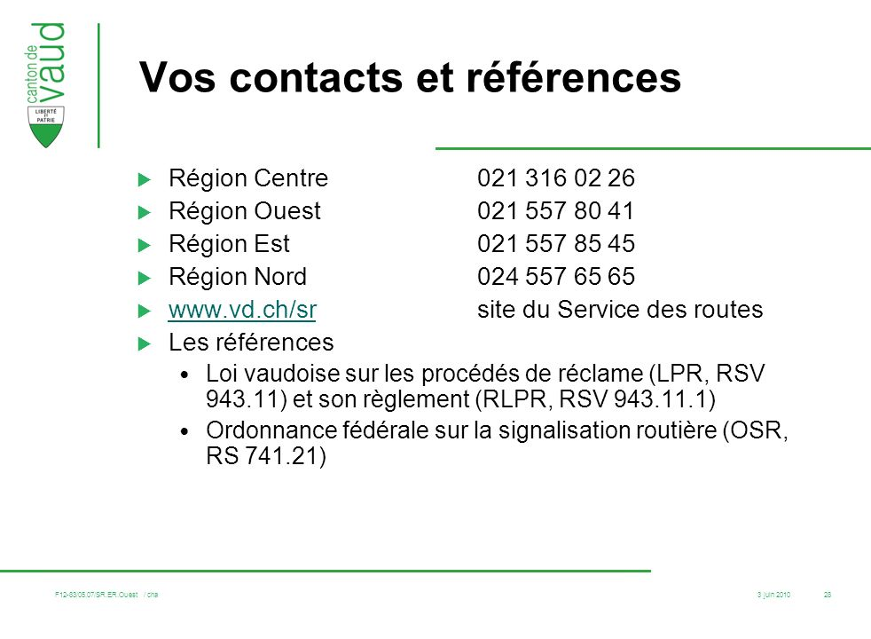 Vos contacts et références