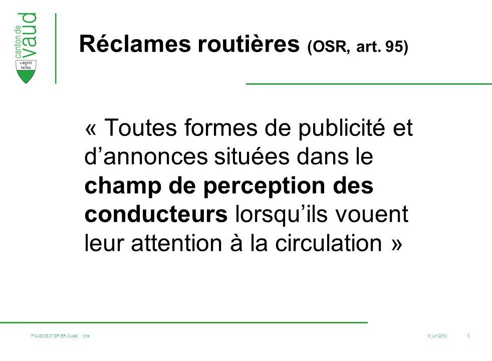 Réclames routières (OSR, art. 95)