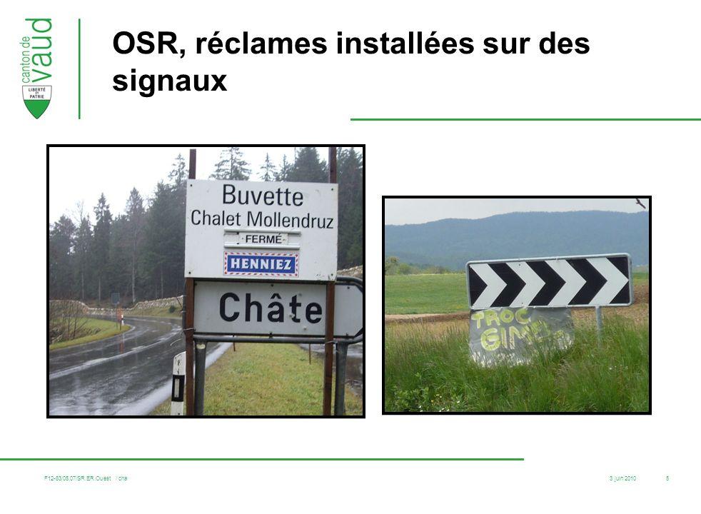 OSR, réclames installées sur des signaux