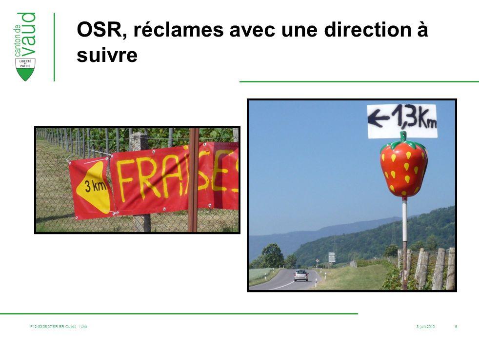 OSR, réclames avec une direction à suivre