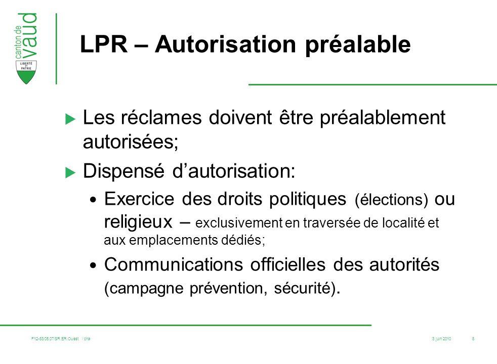LPR – Autorisation préalable