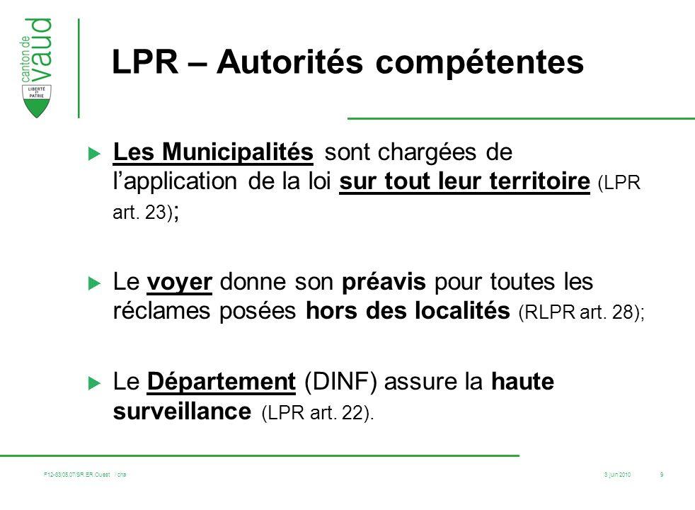LPR – Autorités compétentes