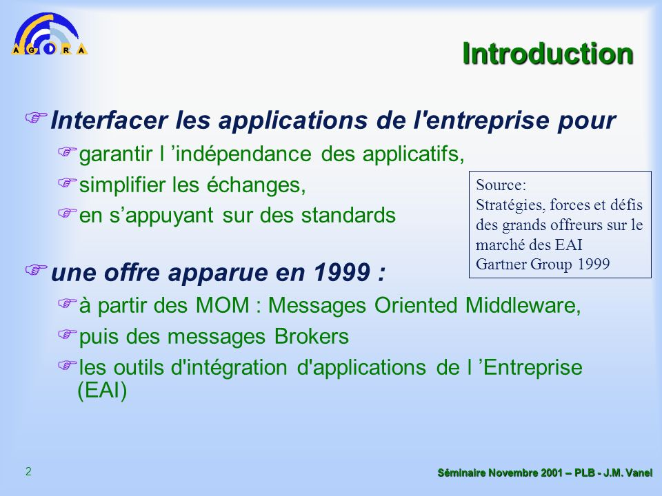 Introduction Interfacer les applications de l entreprise pour