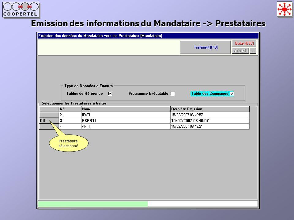 Emission des informations du Mandataire -> Prestataires