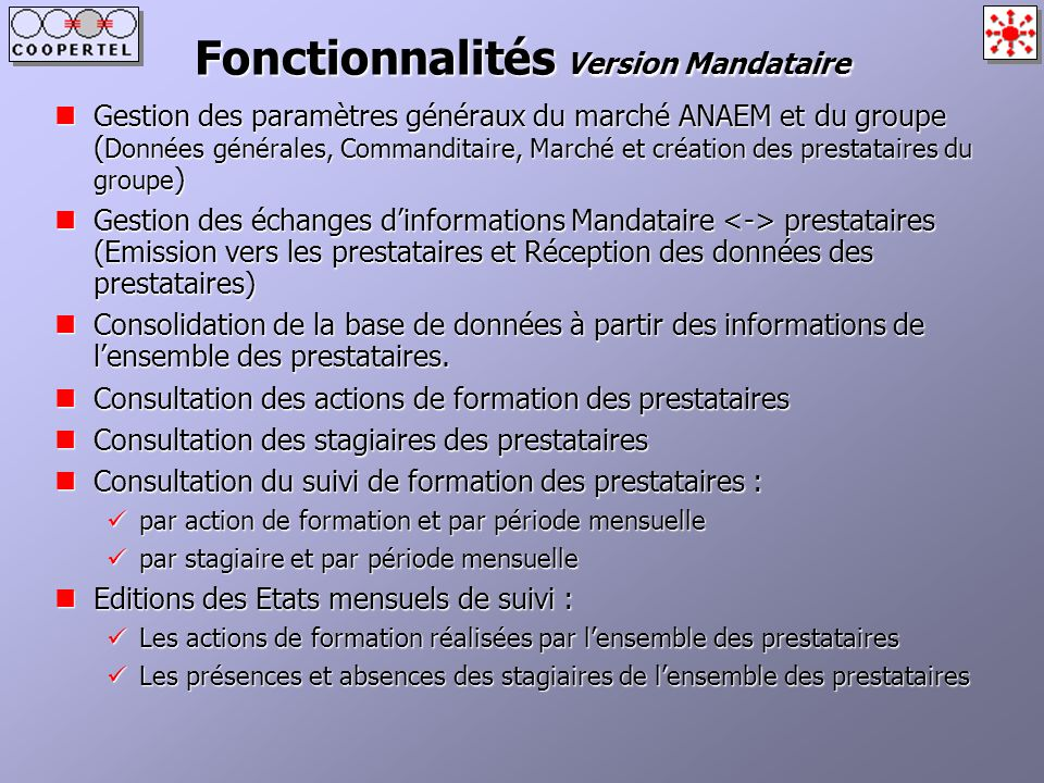 Fonctionnalités Version Mandataire