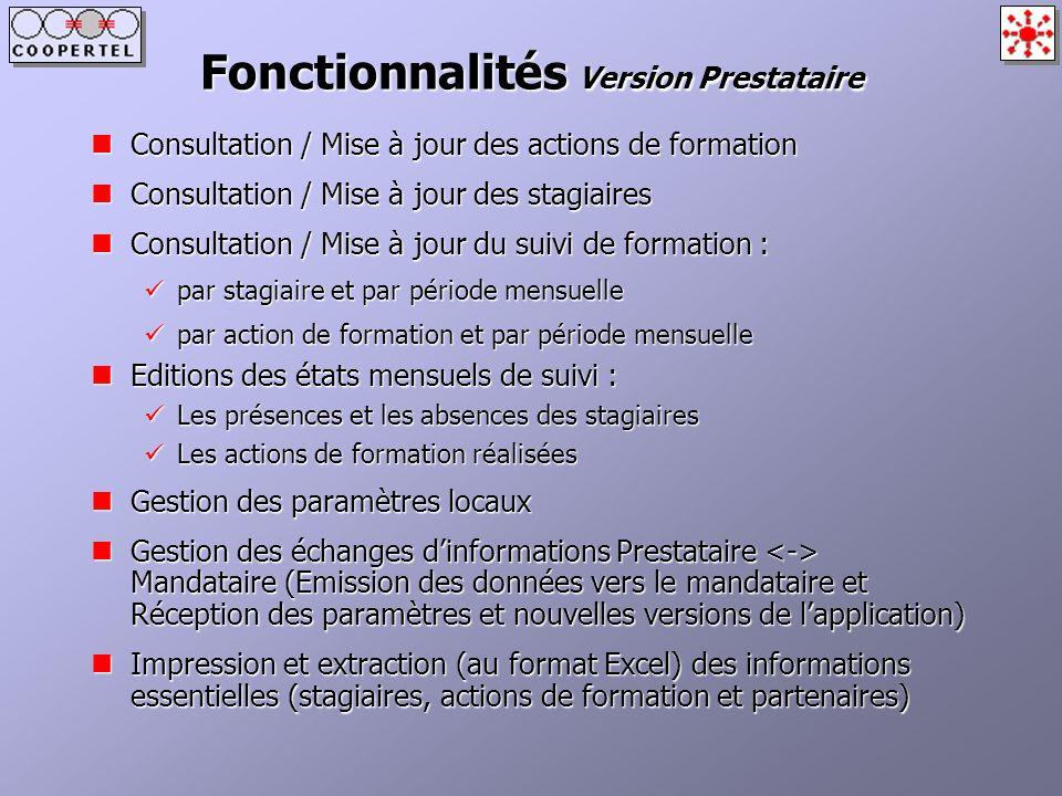 Fonctionnalités Version Prestataire
