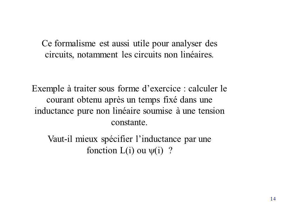 Vaut-il mieux spécifier l'inductance par une fonction L(i) ou y(i)