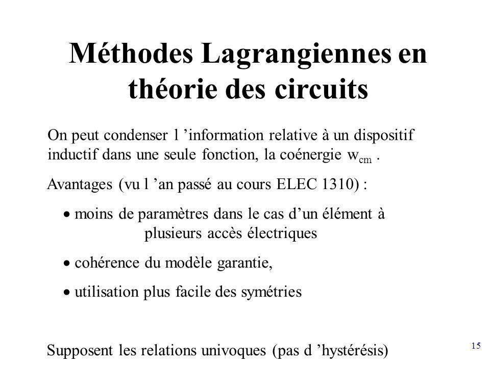 Méthodes Lagrangiennes en théorie des circuits