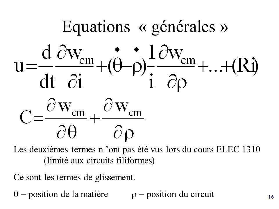 Equations « générales »
