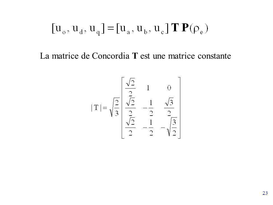 La matrice de Concordia T est une matrice constante