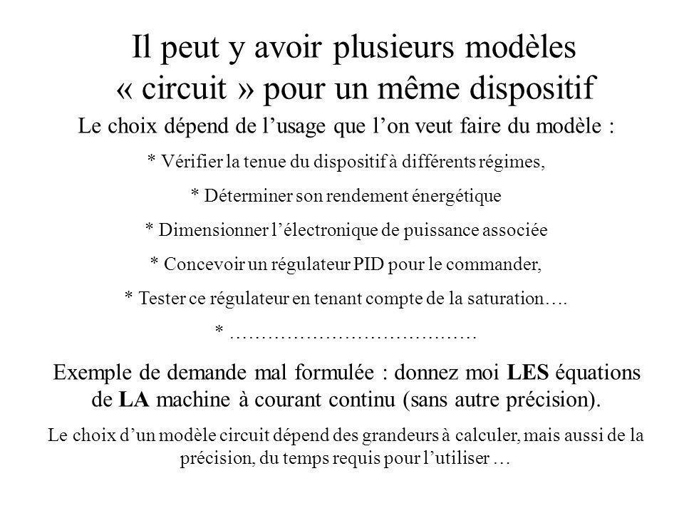 Il peut y avoir plusieurs modèles « circuit » pour un même dispositif