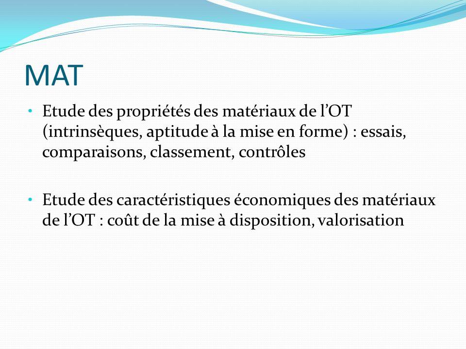 MAT Etude des propriétés des matériaux de l'OT (intrinsèques, aptitude à la mise en forme) : essais, comparaisons, classement, contrôles.