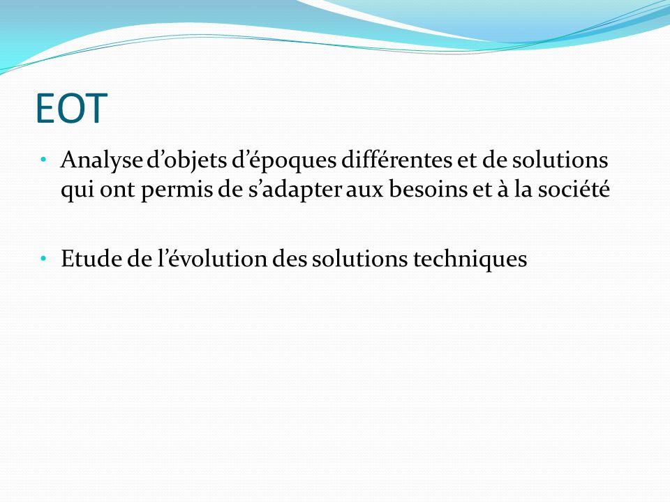 EOT Analyse d'objets d'époques différentes et de solutions qui ont permis de s'adapter aux besoins et à la société.