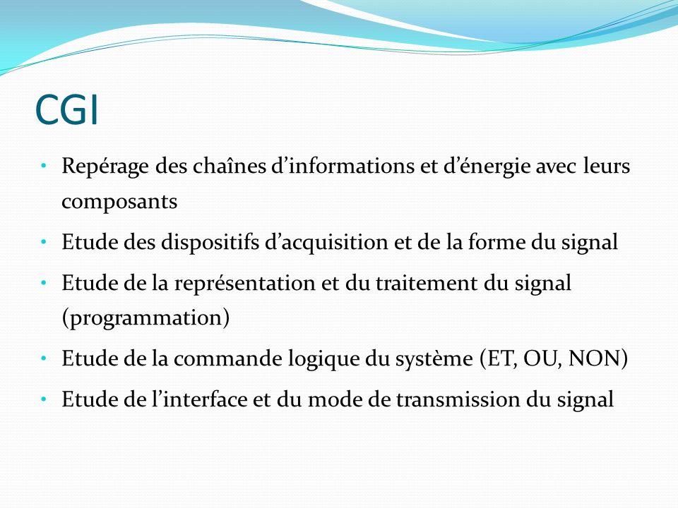 CGI Repérage des chaînes d'informations et d'énergie avec leurs composants. Etude des dispositifs d'acquisition et de la forme du signal.