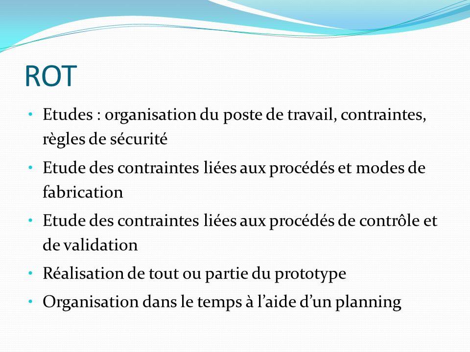 ROT Etudes : organisation du poste de travail, contraintes, règles de sécurité. Etude des contraintes liées aux procédés et modes de fabrication.
