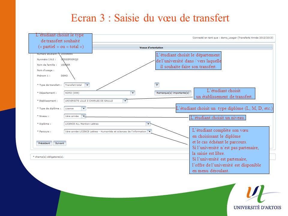 Ecran 3 : Saisie du vœu de transfert