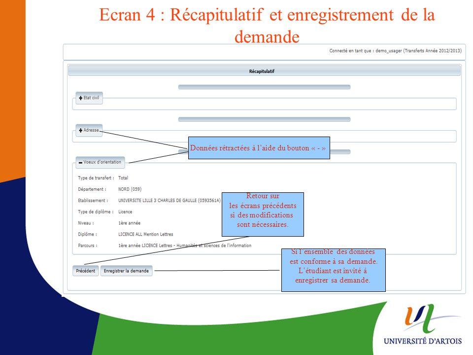 Ecran 4 : Récapitulatif et enregistrement de la demande