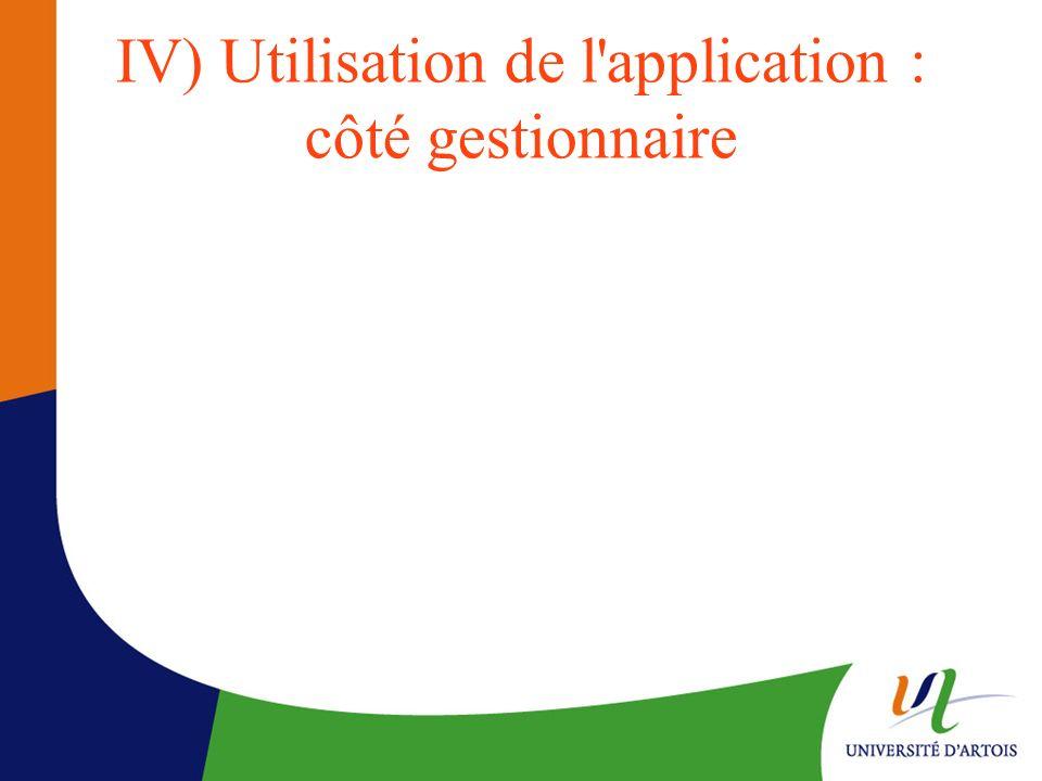 IV) Utilisation de l application : côté gestionnaire