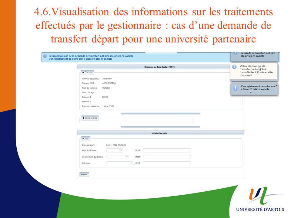 4.6.Visualisation des informations sur les traitements effectués par le gestionnaire : cas d'une demande de transfert départ pour une université partenaire