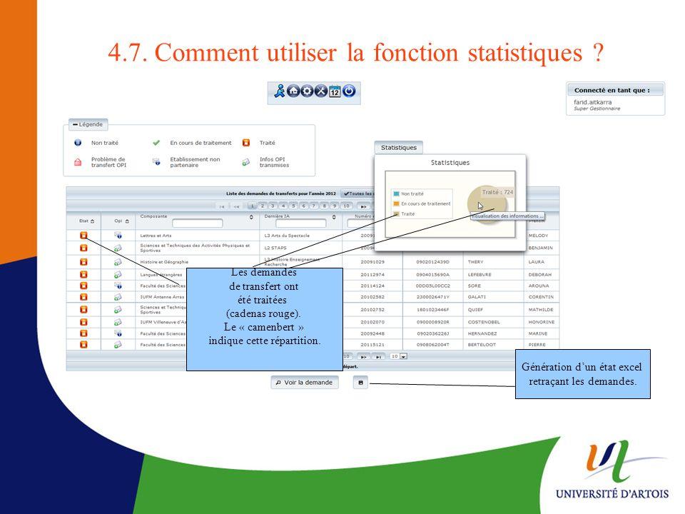 4.7. Comment utiliser la fonction statistiques