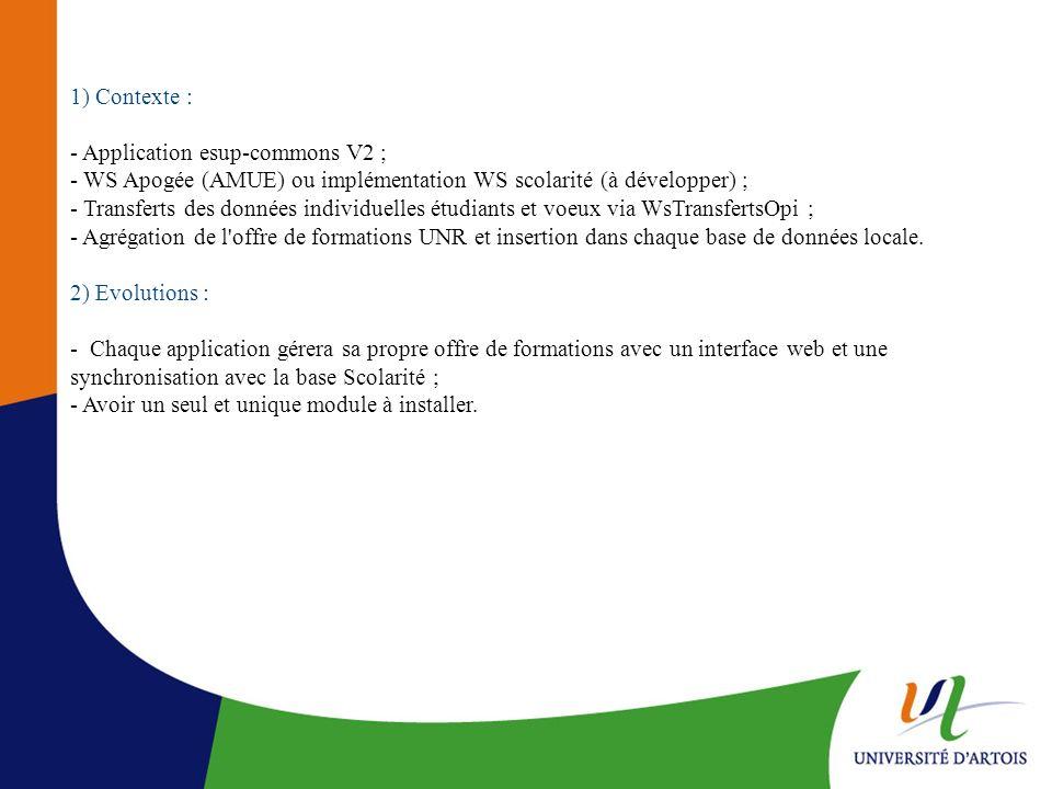 1) Contexte : - Application esup-commons V2 ; - WS Apogée (AMUE) ou implémentation WS scolarité (à développer) ;