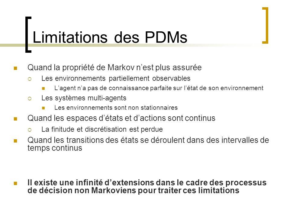 Limitations des PDMs Quand la propriété de Markov n'est plus assurée
