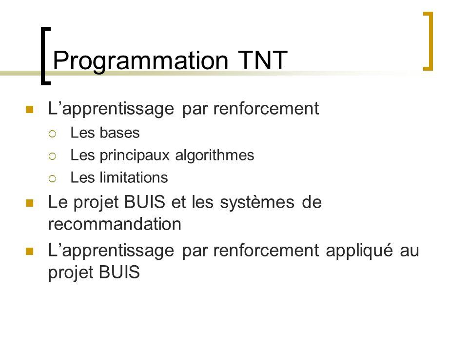 Programmation TNT L'apprentissage par renforcement