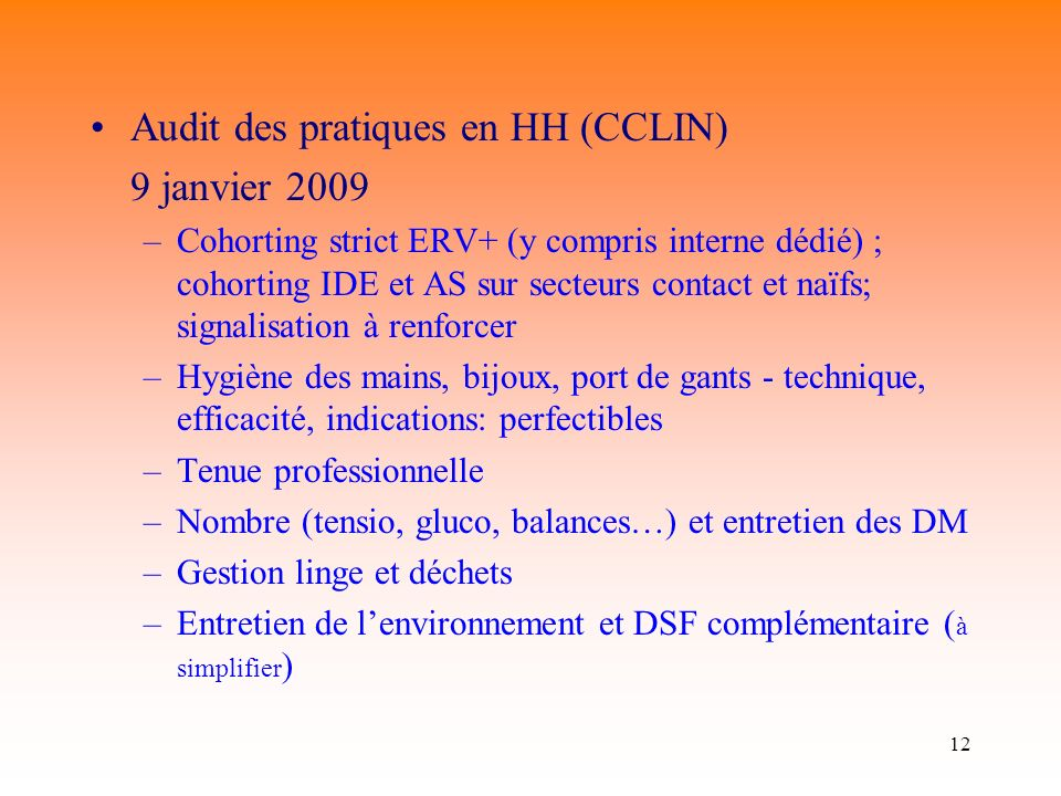 Audit des pratiques en HH (CCLIN) 9 janvier 2009