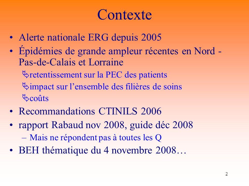 Contexte Alerte nationale ERG depuis 2005