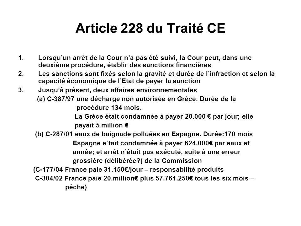 Article 228 du Traité CE Lorsqu'un arrêt de la Cour n'a pas été suivi, la Cour peut, dans une deuxième procédure, établir des sanctions financières.