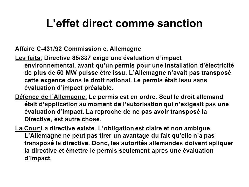 L'effet direct comme sanction