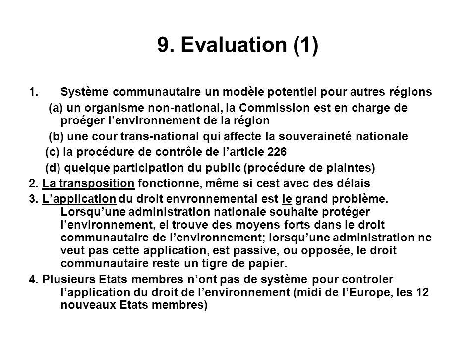 9. Evaluation (1) Système communautaire un modèle potentiel pour autres régions.
