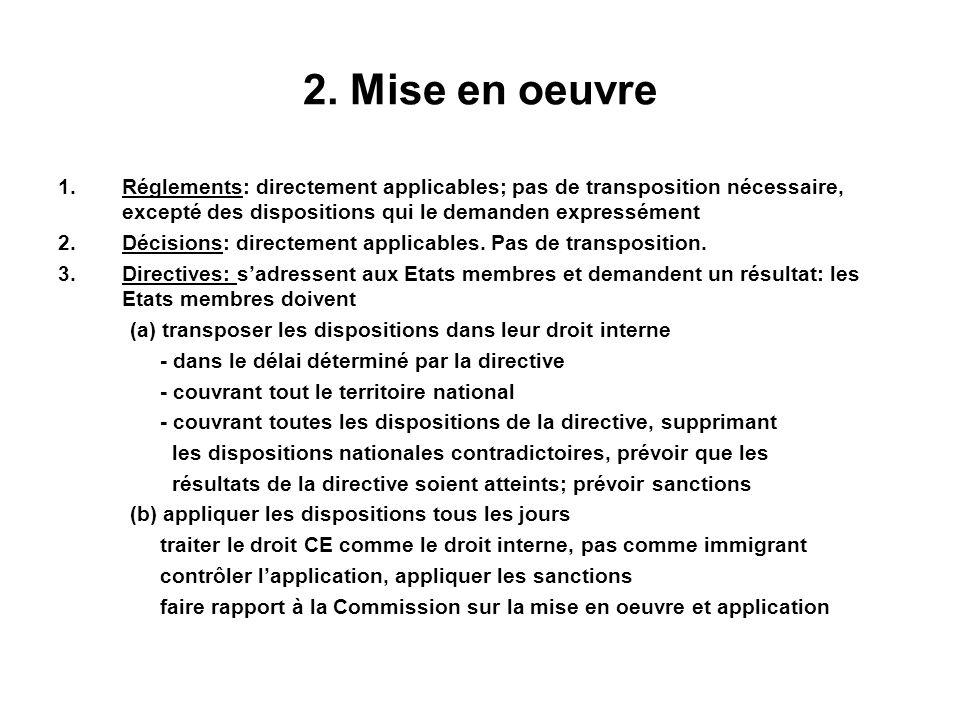2. Mise en oeuvre Réglements: directement applicables; pas de transposition nécessaire, excepté des dispositions qui le demanden expressément.