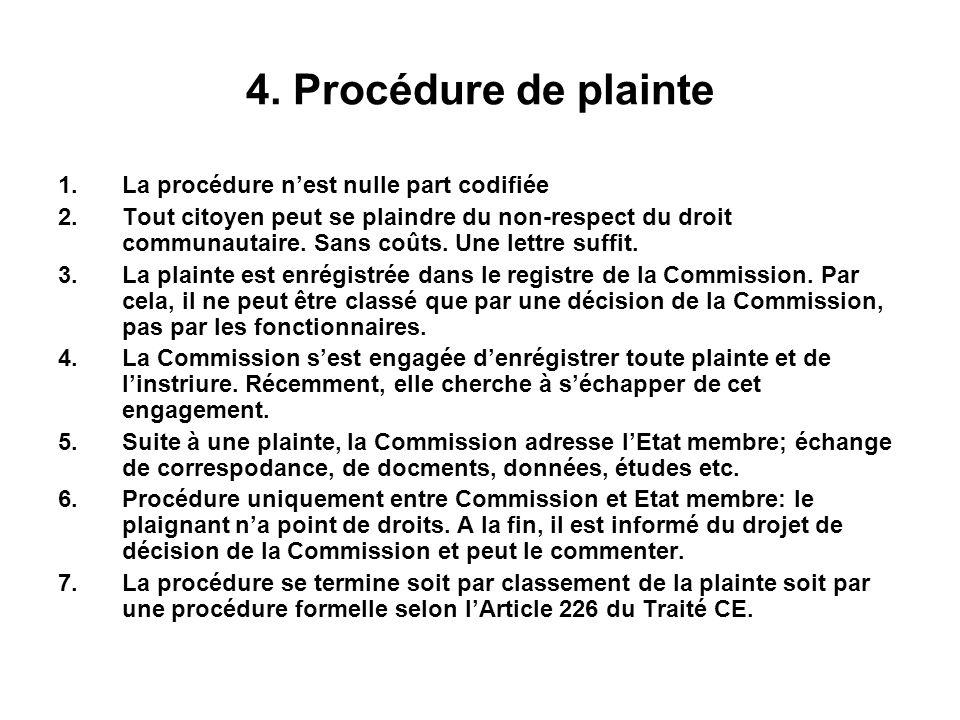 4. Procédure de plainte La procédure n'est nulle part codifiée