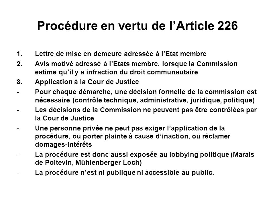 Procédure en vertu de l'Article 226