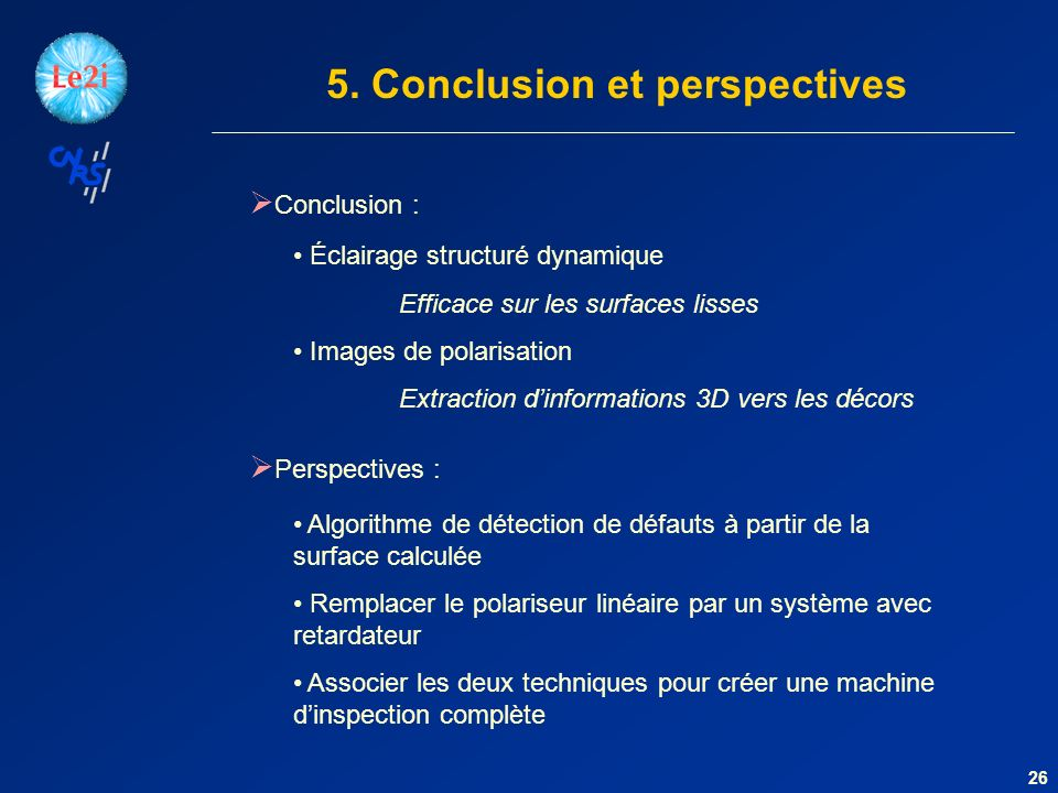 5. Conclusion et perspectives