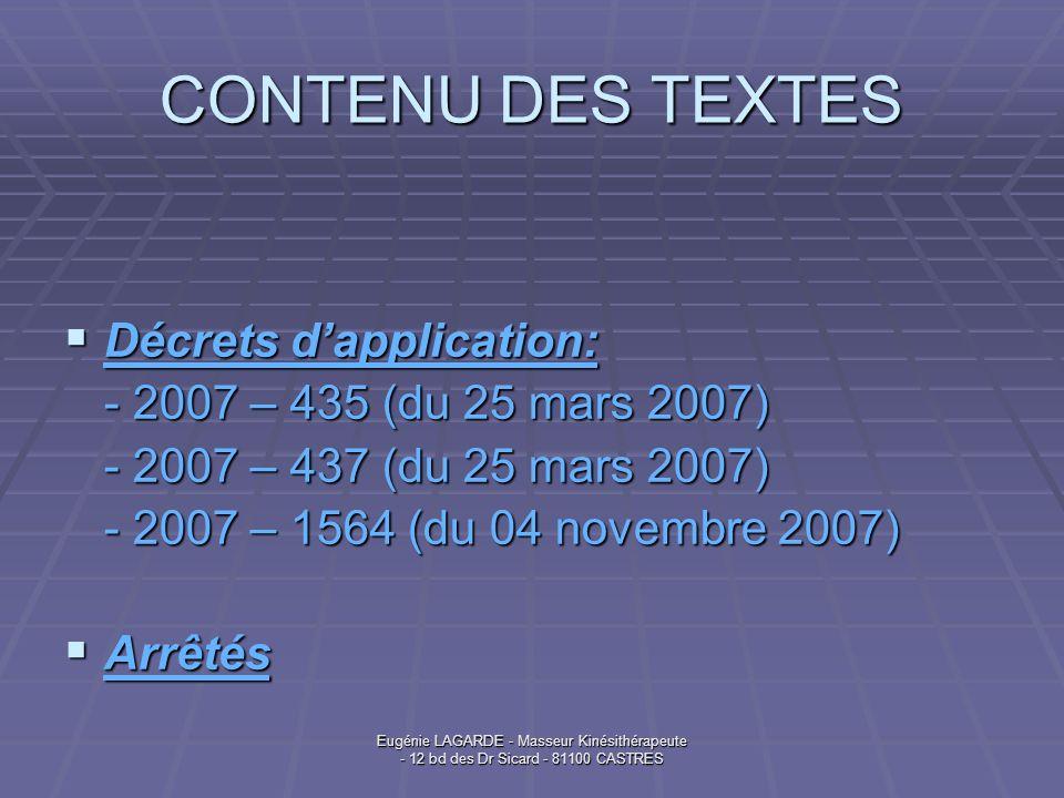 CONTENU DES TEXTES Décrets d'application: