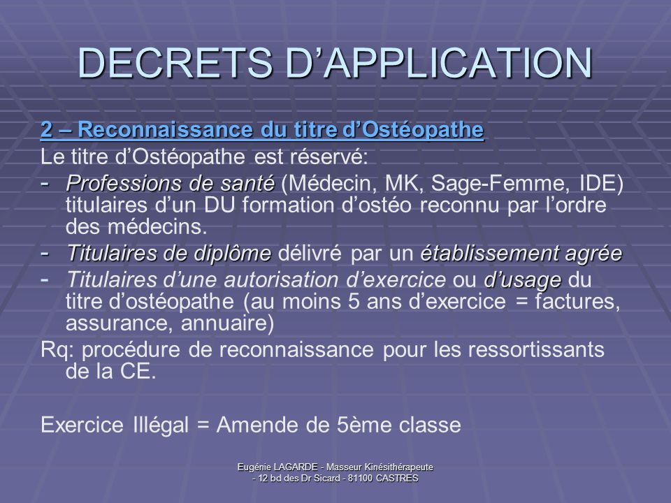 DECRETS D'APPLICATION