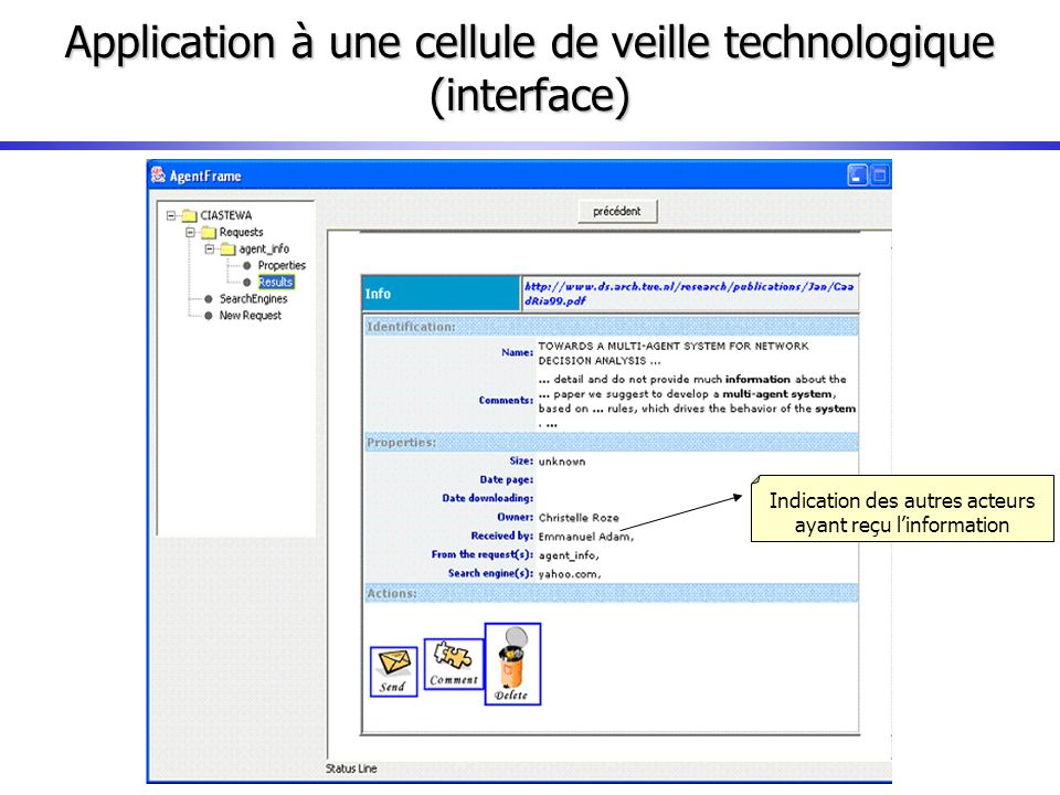 Application à une cellule de veille technologique (interface)