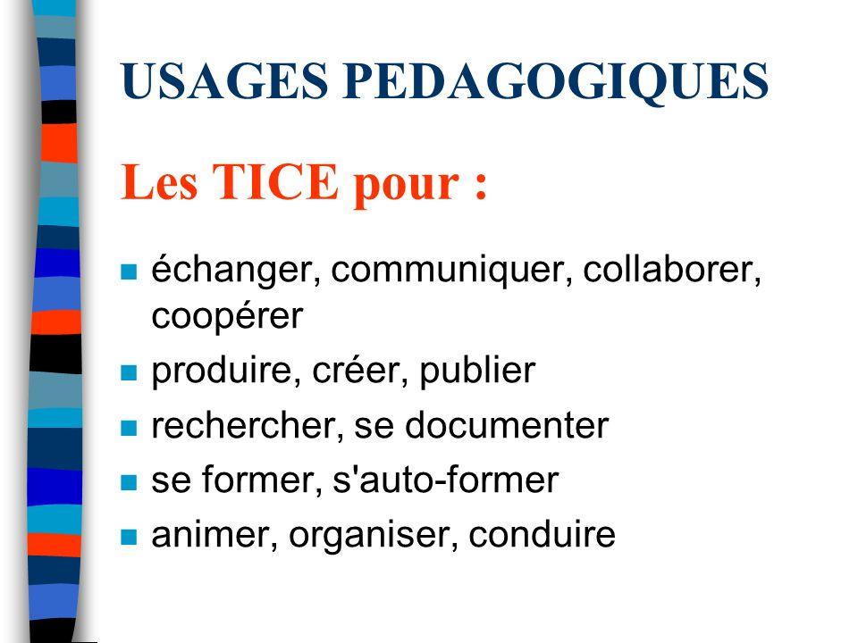 USAGES PEDAGOGIQUES Les TICE pour :
