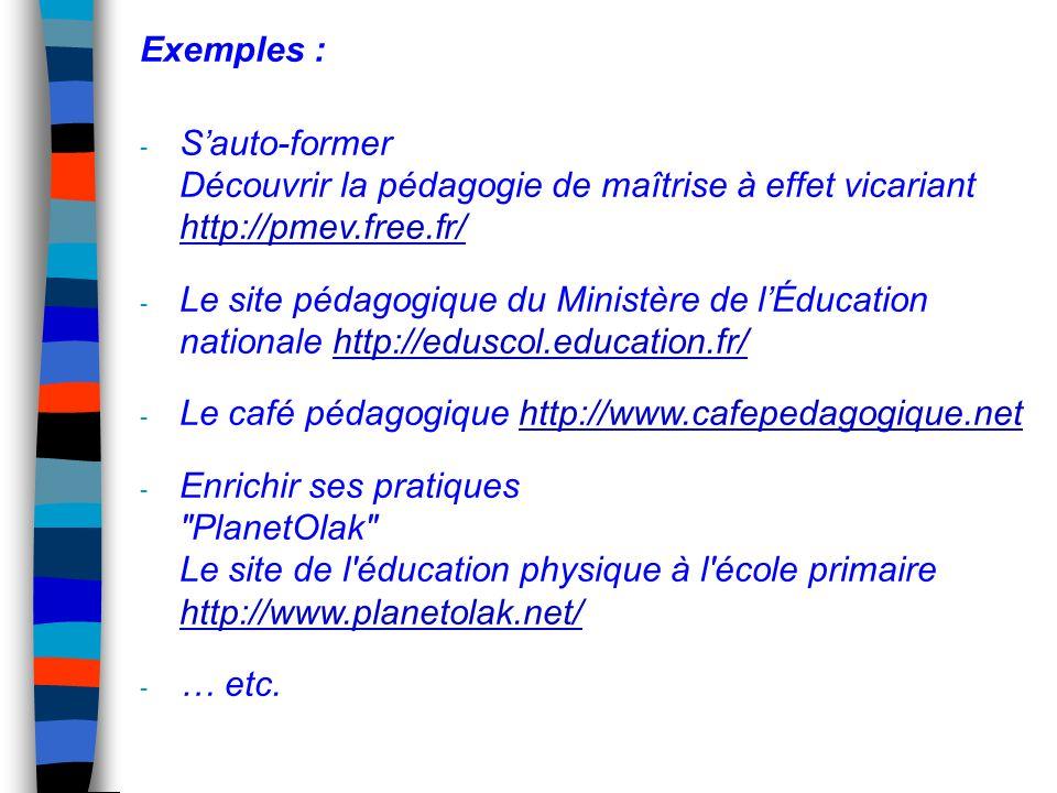 Exemples : S'auto-former Découvrir la pédagogie de maîtrise à effet vicariant http://pmev.free.fr/