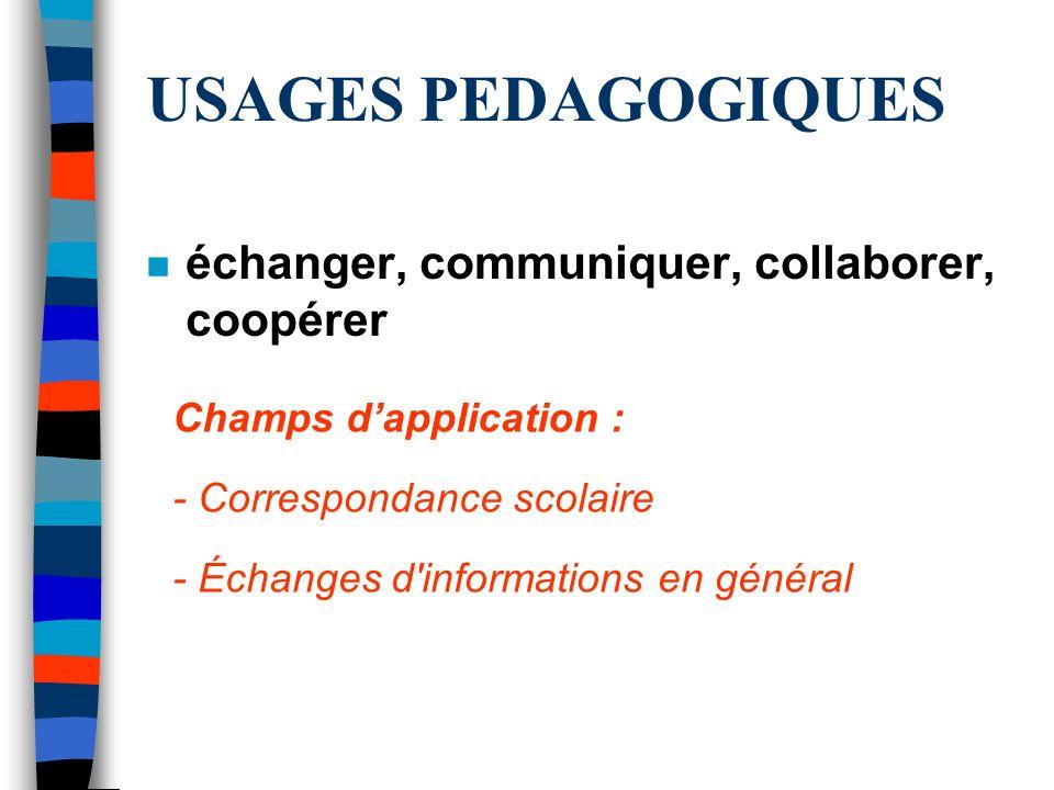 USAGES PEDAGOGIQUES échanger, communiquer, collaborer, coopérer